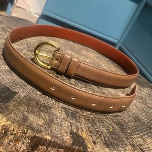 Coach Glove tanned taupe leather& solid brass belt